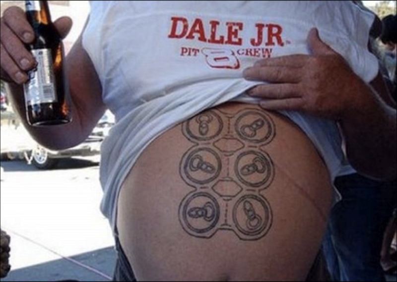 Funny beer tattoo on stomach