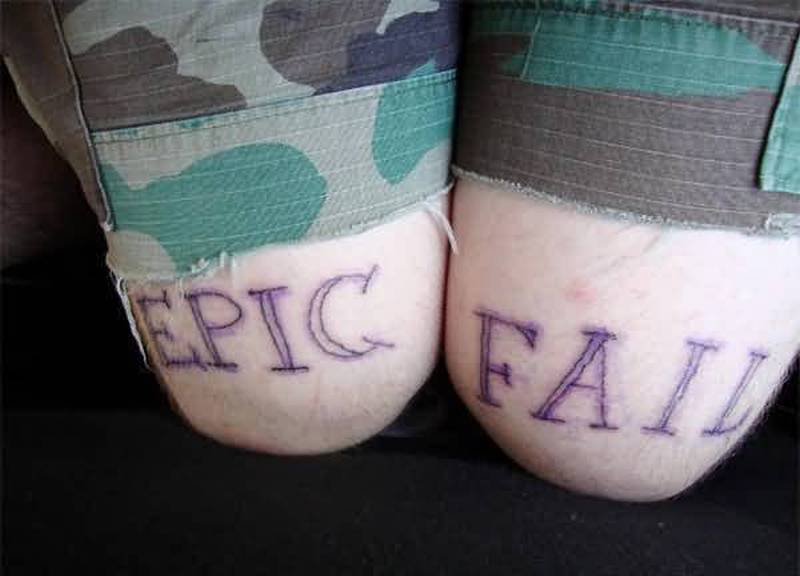 Funny epic fail tattoo on knees