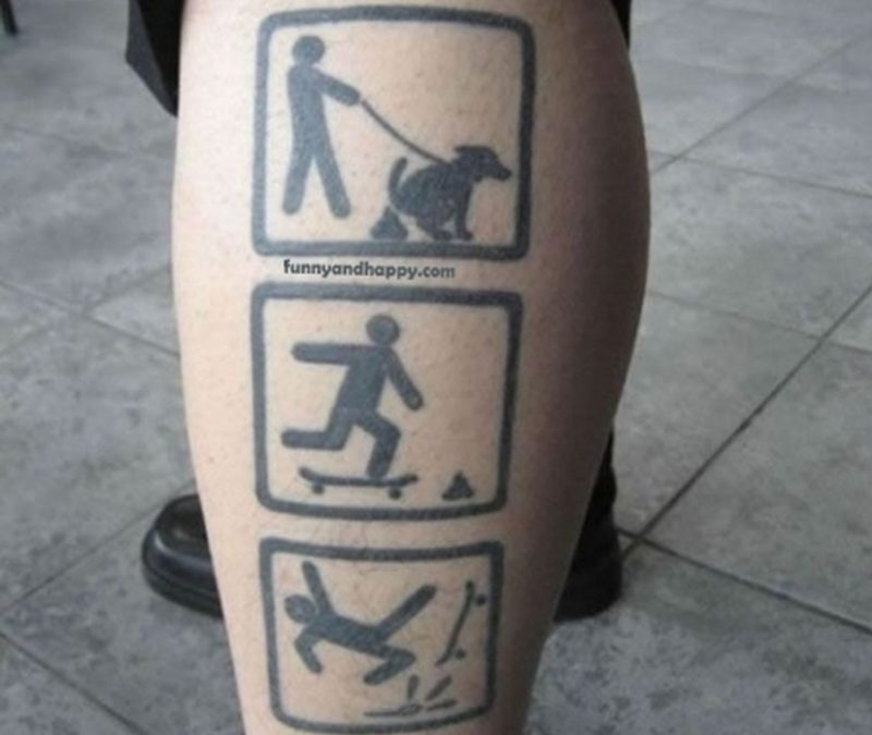 Funny tattoo on leg