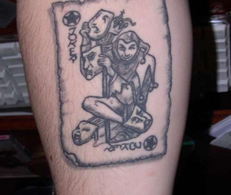 Gambling joker card tattoo design 2
