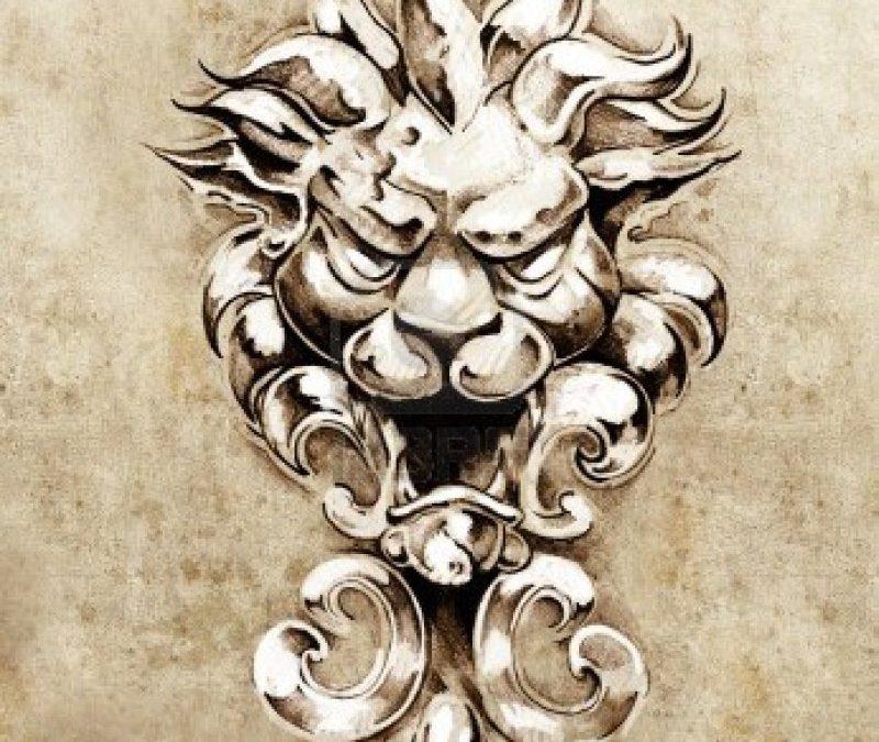Gargoyle lion illustration tattoo sketch