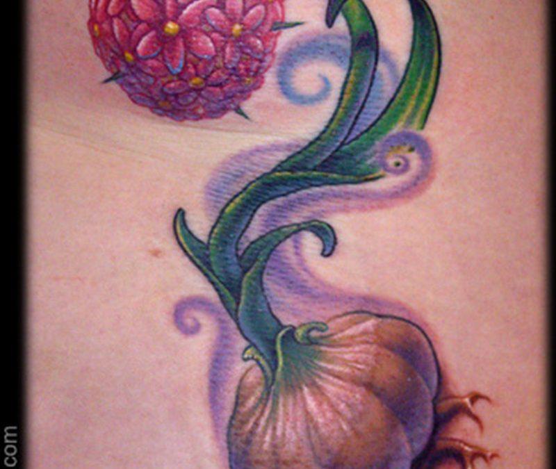 Garlic flower tattoo design
