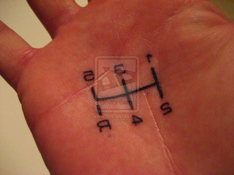 Gear shift tattoo on palm of hand