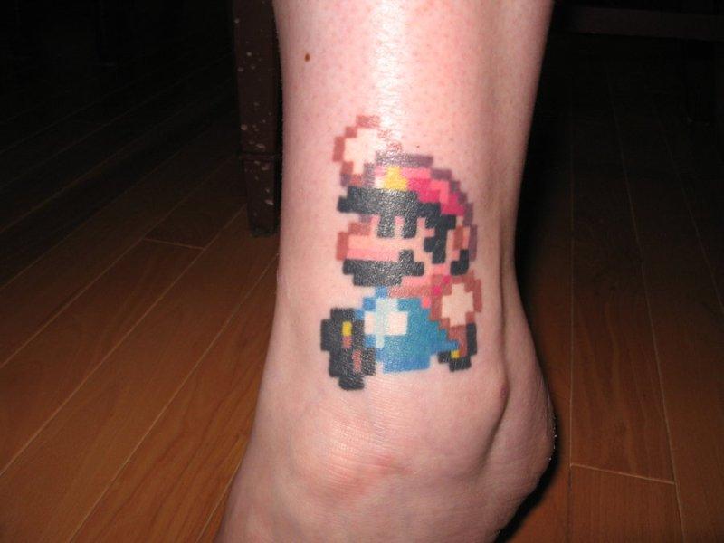 Geek mario tattoo design