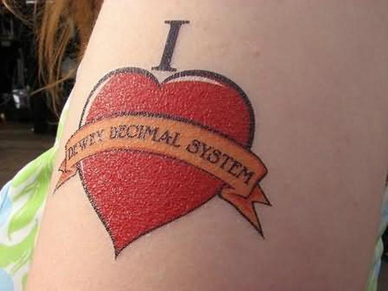 Geek red heart tattoo design