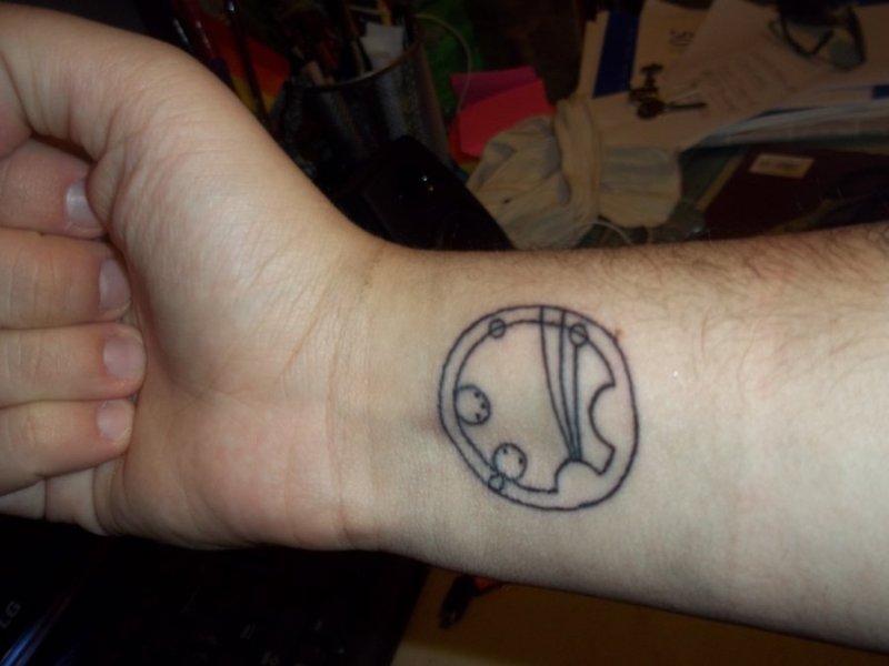 Geek tattoo on wrist 2