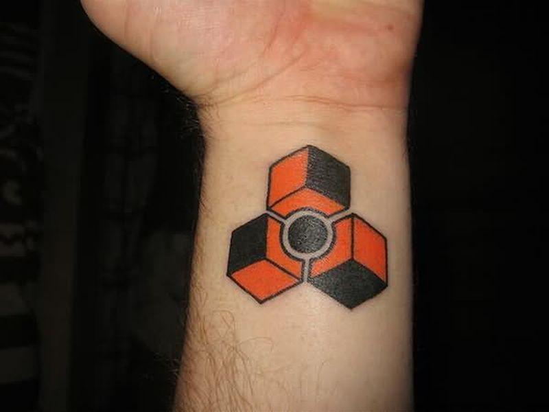 Geek tattoo on wrist