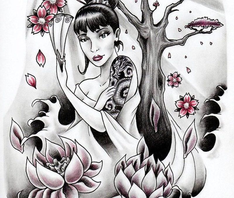 Geisha n lotus flowers tattoo design