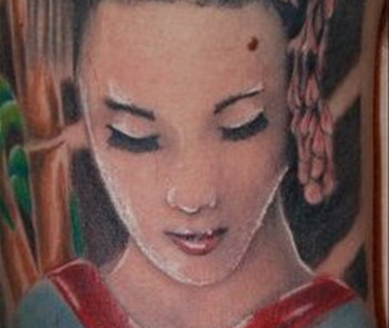 Geisha n lotus tattoo design