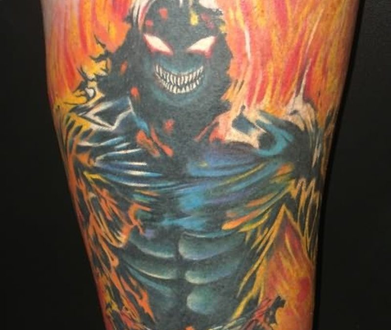 Ghost fire n flame tattoo design