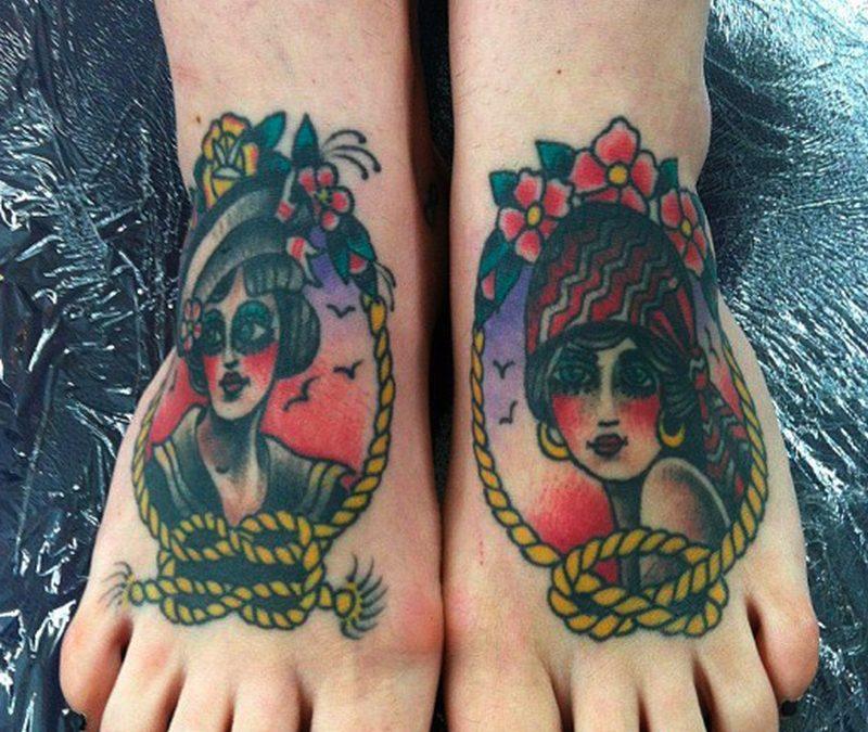 Girls head tattoo designs on feet