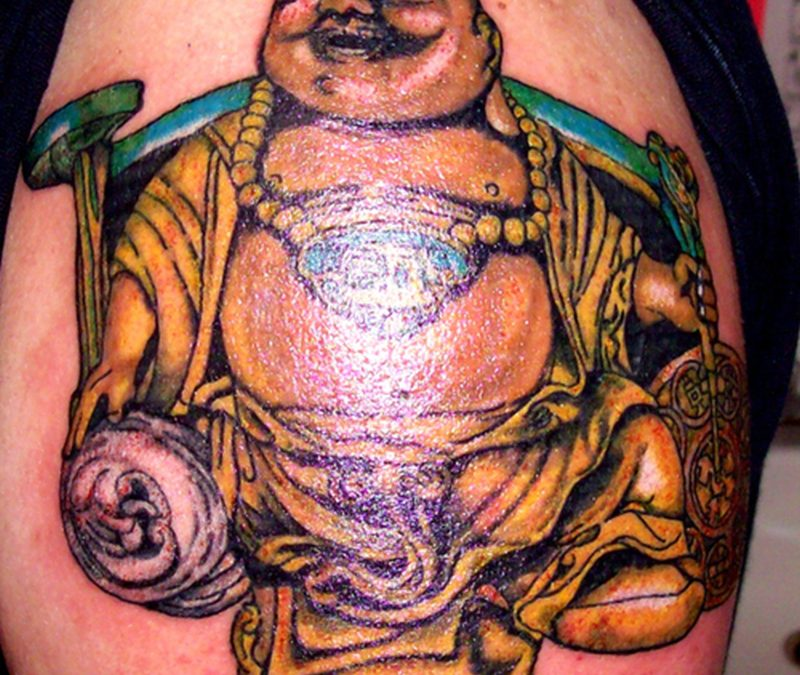 Glowing buddhist tattoo design