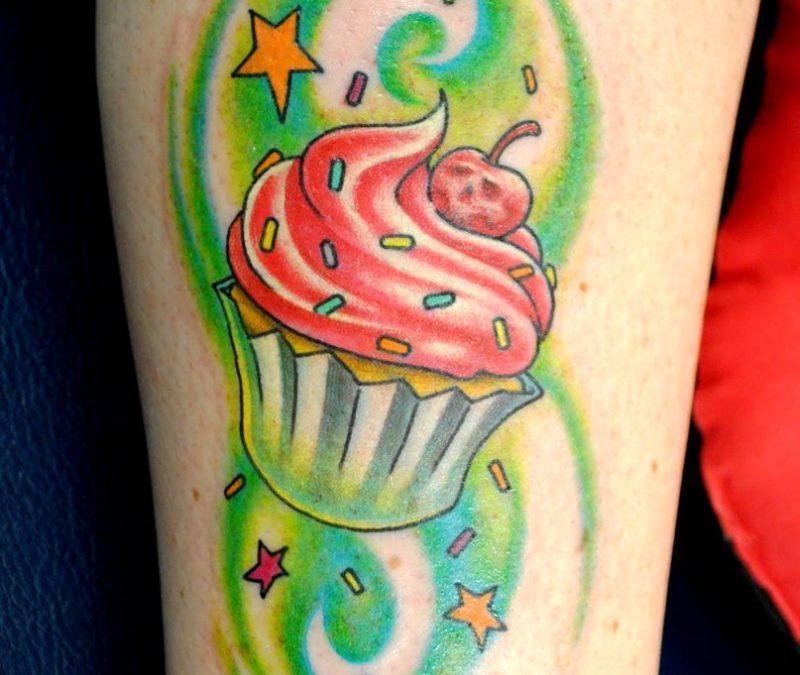 Glowing cup cake tattoo
