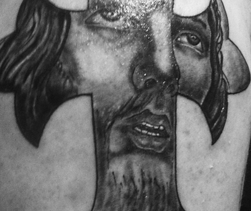 Glowing jesus cross tattoo design