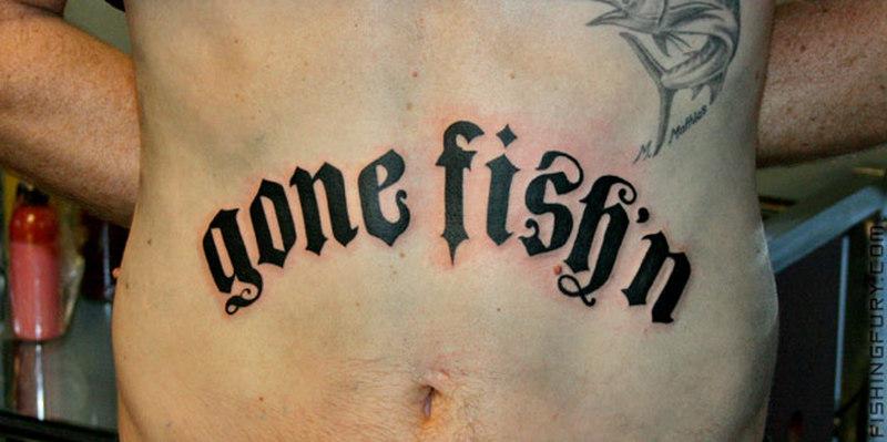 Gone fishn tattoo on stomach