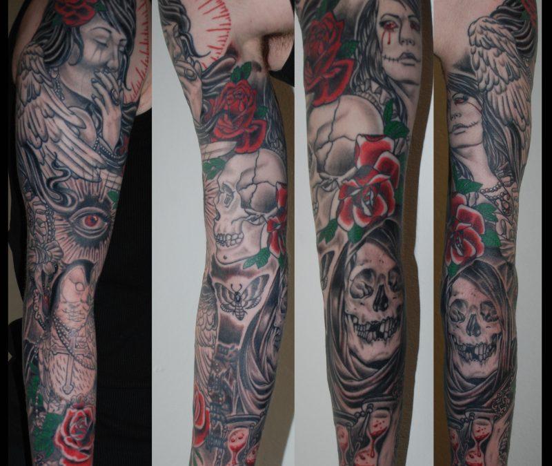Gothic sleeve tattoo design