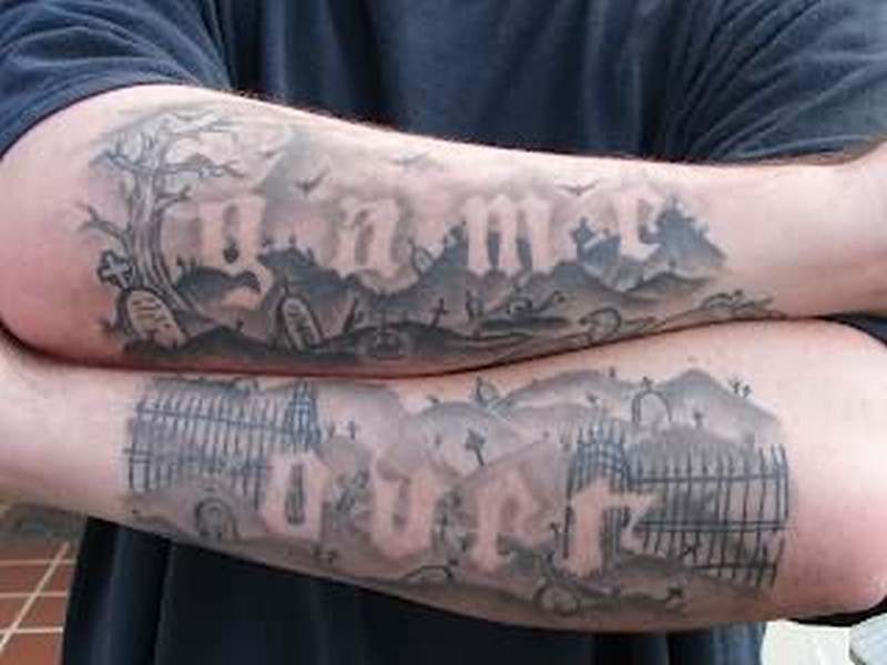 Graveyard tattoo designs on arms