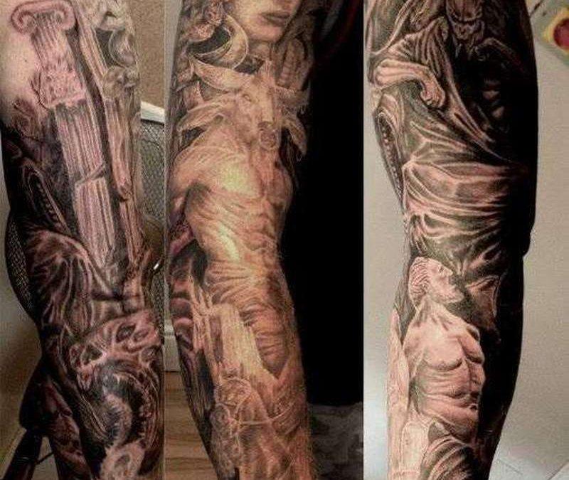 Greek mythology sleeve tattoo design
