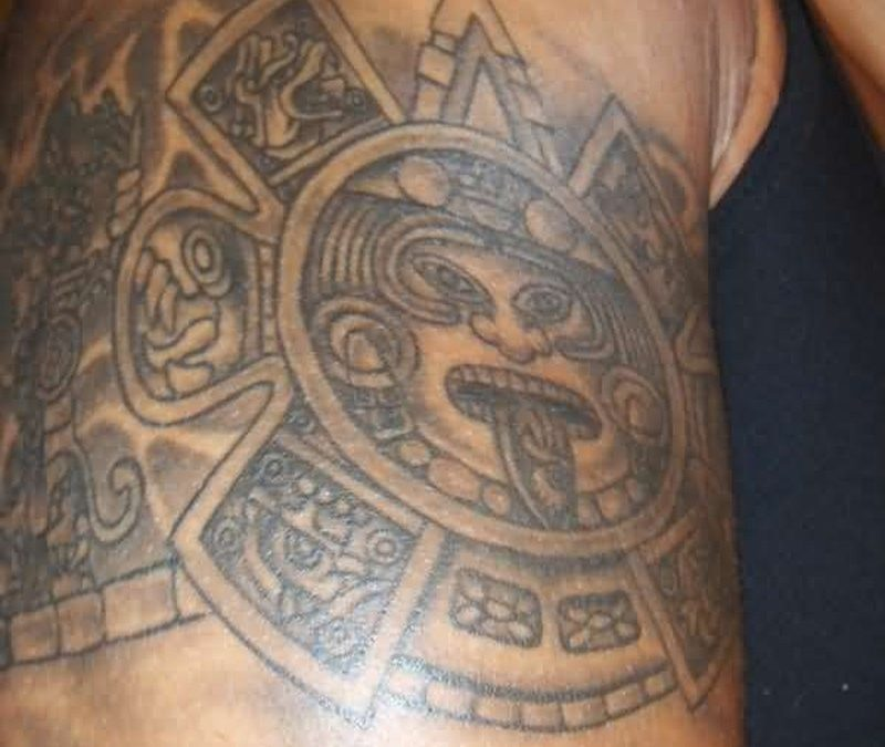 Grey ink god sun aztec armband tattoo