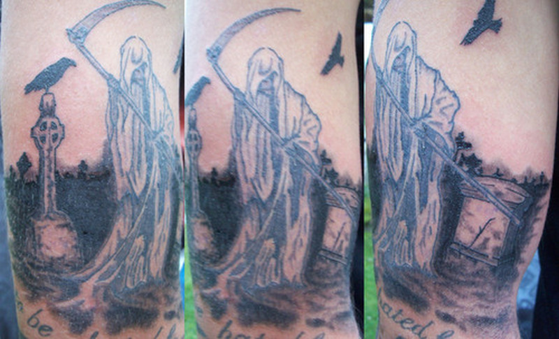 Grim reaper graveyard tattoo design 2