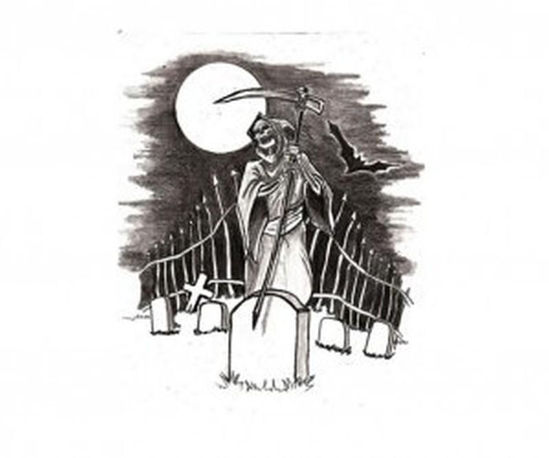 Grim reaper in the graveyard tattoo design