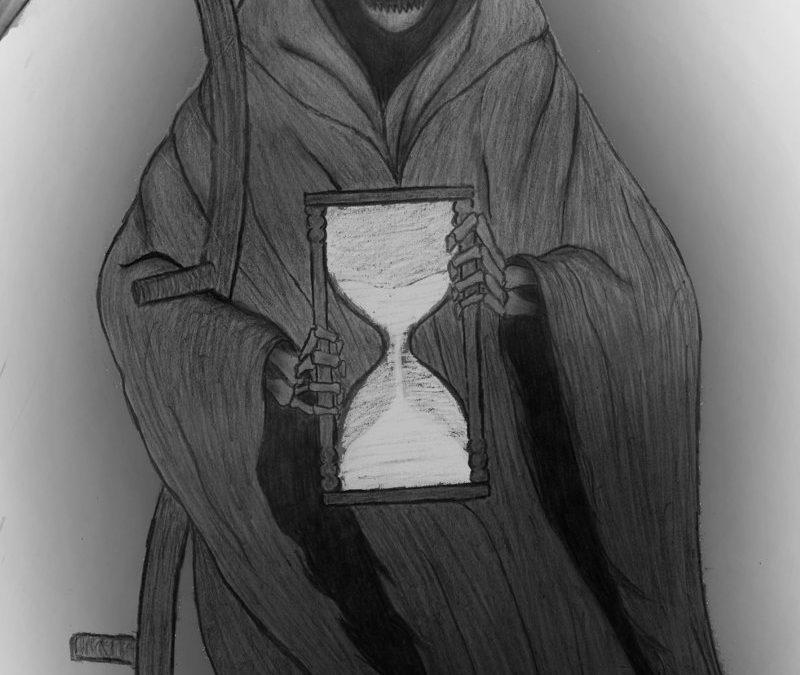 Grim reaper n hourglass tattoo design