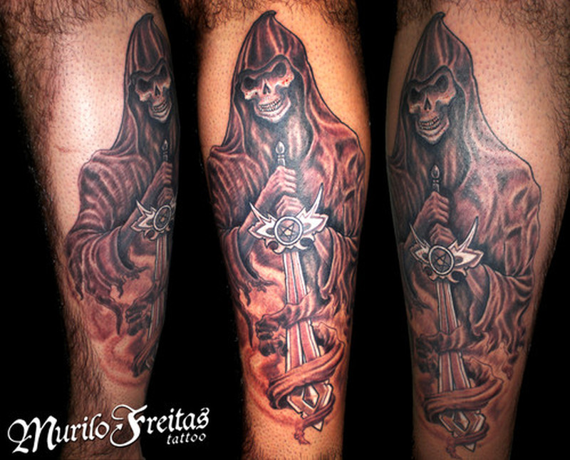 Grim reaper with sword tattoo design