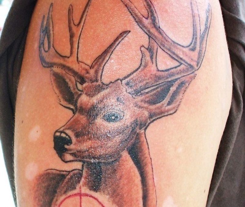 Groovy deer tattoo design