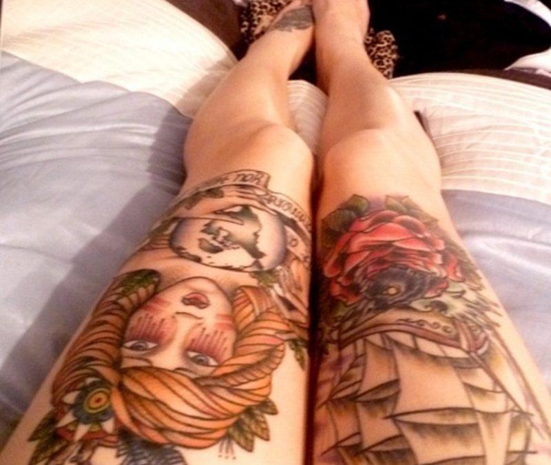 Gypsy n pirate ship tattoo on legs