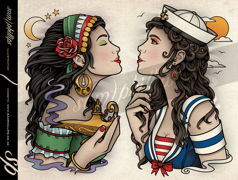 Gypsy sailor jerry tattoo design