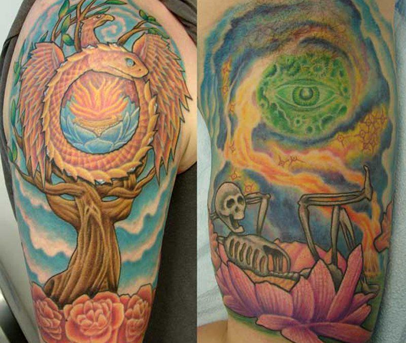 Half sleeve hippie tattoo design