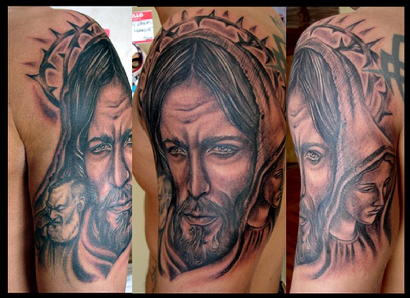 Half sleeve jesus portrait tattoo design