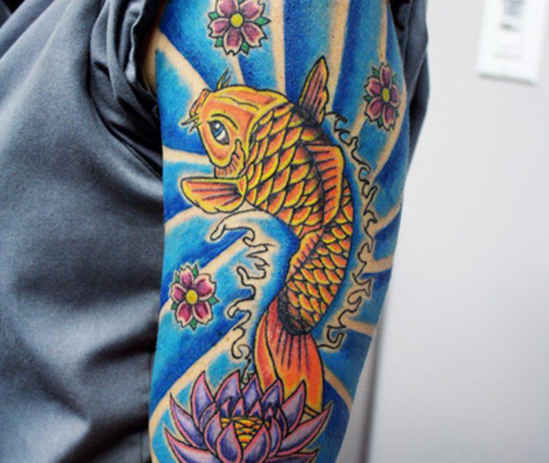 Half sleeve koi fish n lotus tattoo design