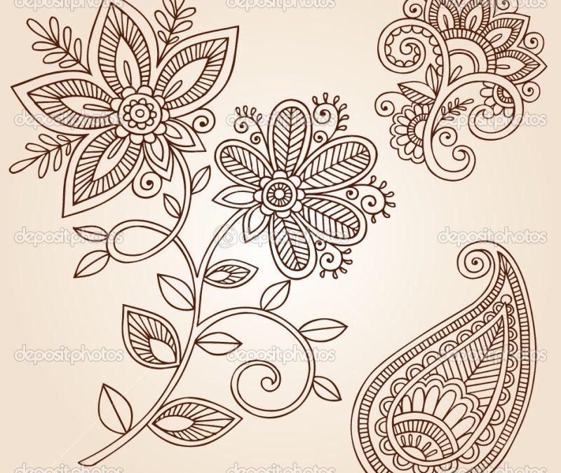 Henna flower tattoo designs