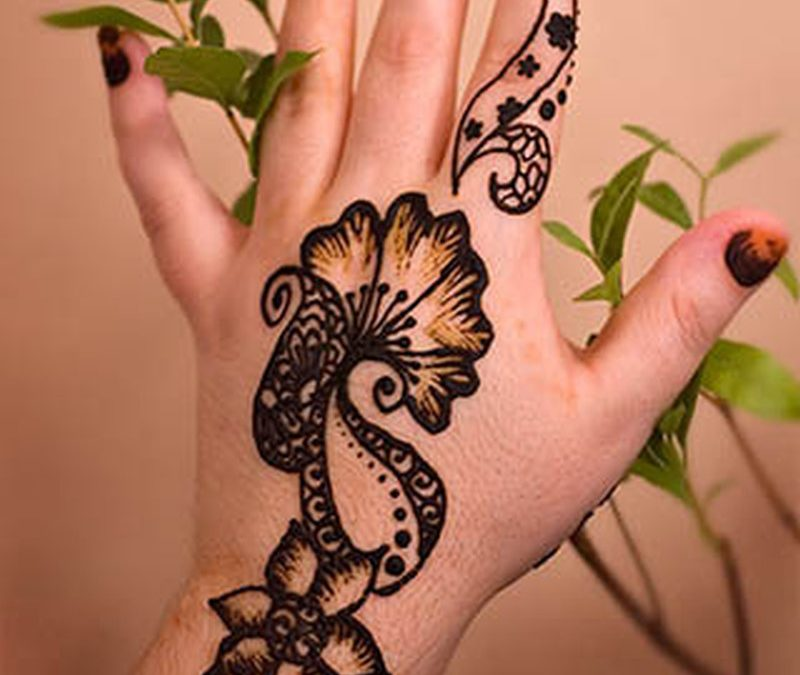 Henna plant tattoo on back of hand
