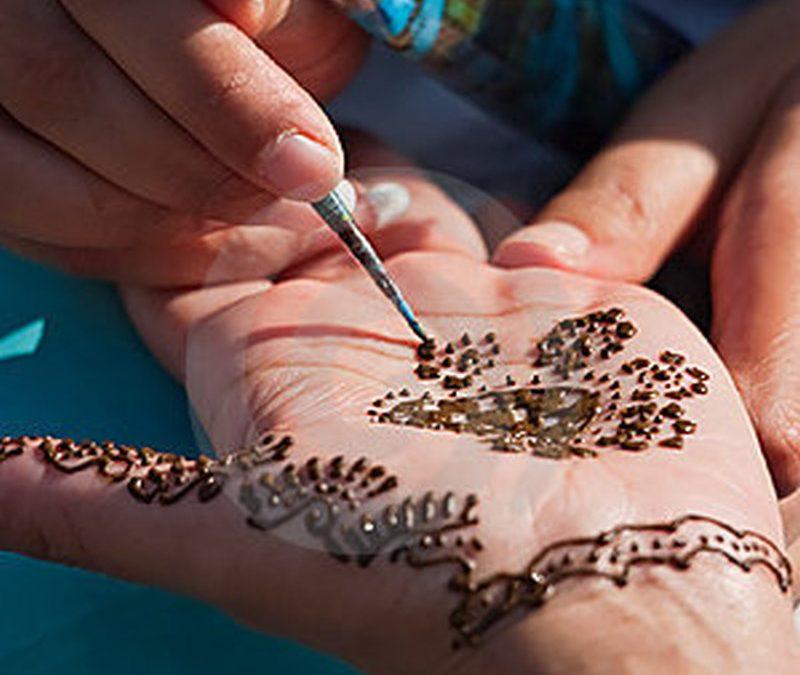 Henna tattoo on left palm in progress