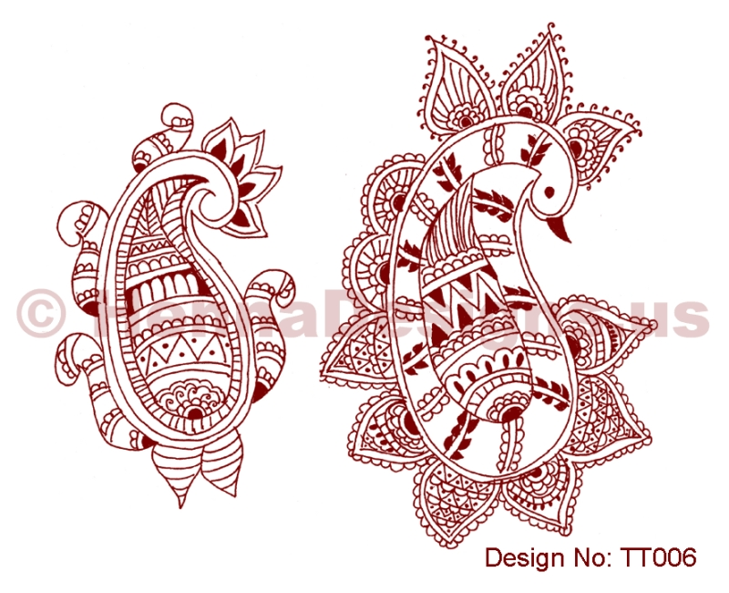 Henna tattoo samples
