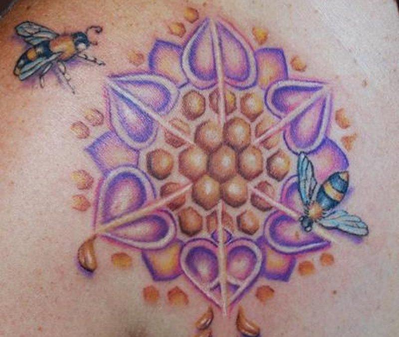 Honey bee circle tattoo design