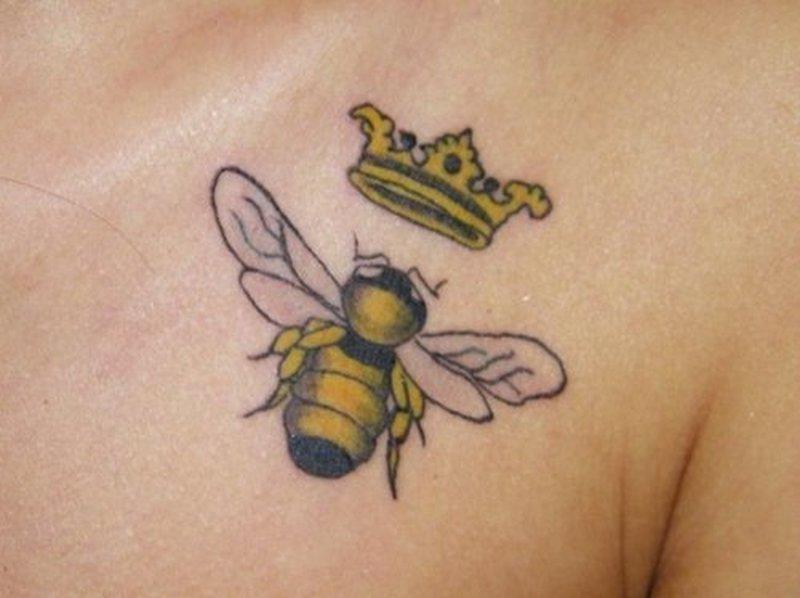 Honey bee crown tattoo design