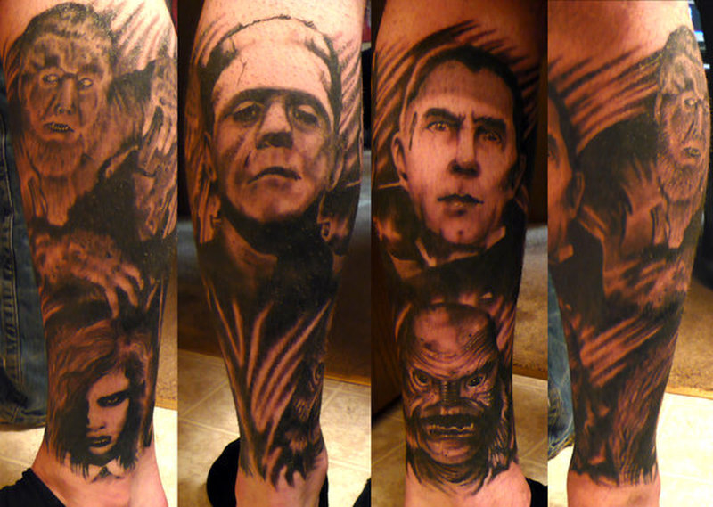 Horror calf sleeve tattoo design