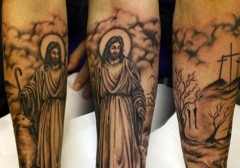 Jesus religious tattoo design