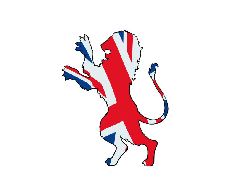 Lion with british flag tattoo design