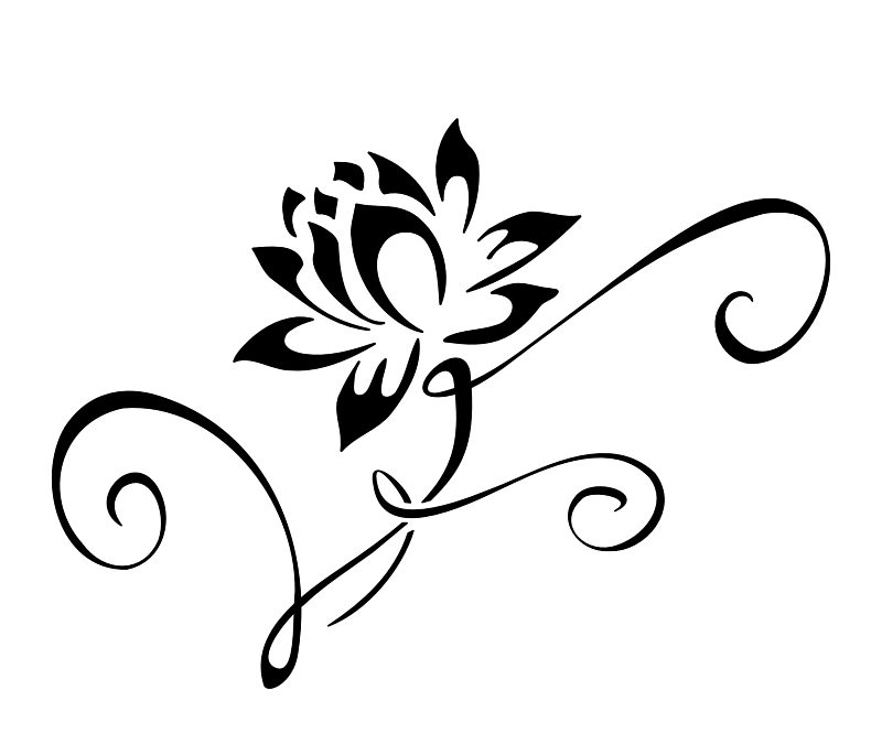 Lotus flower tattoo stencil 2