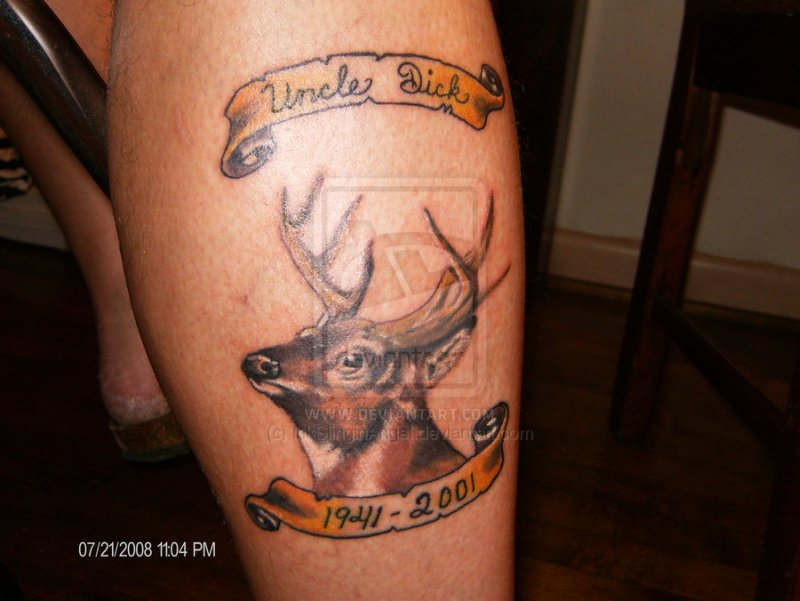 Memorial deer tattoo design