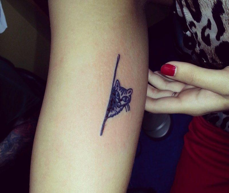 Minimalistic black cat tattoo on arm