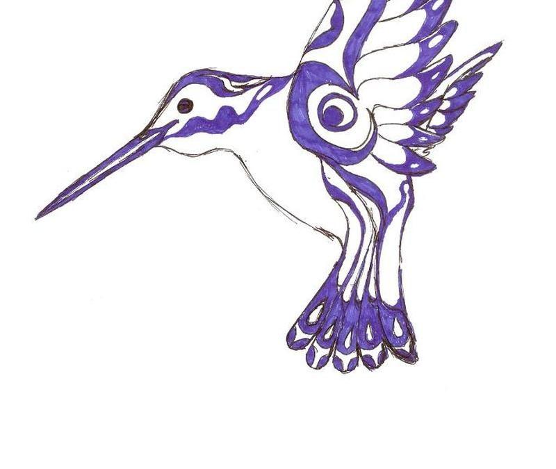 Native american hummingbird tattoo design