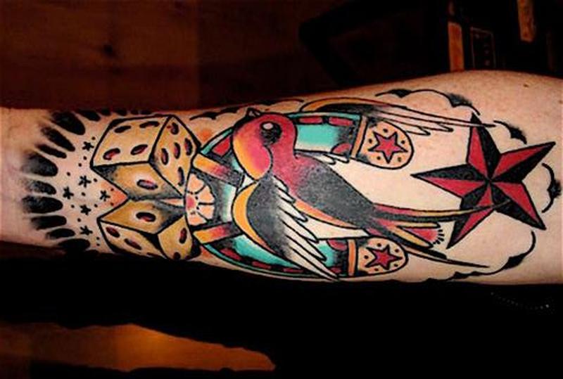 Nautical star horseshoe dices tattoo design