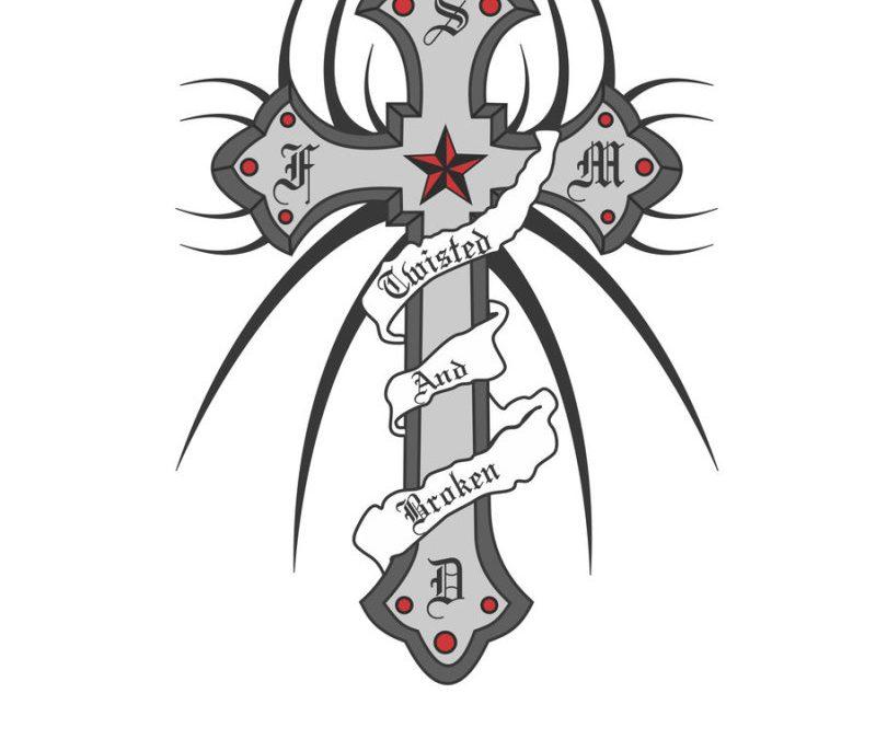 Nautical star n cross tattoo design