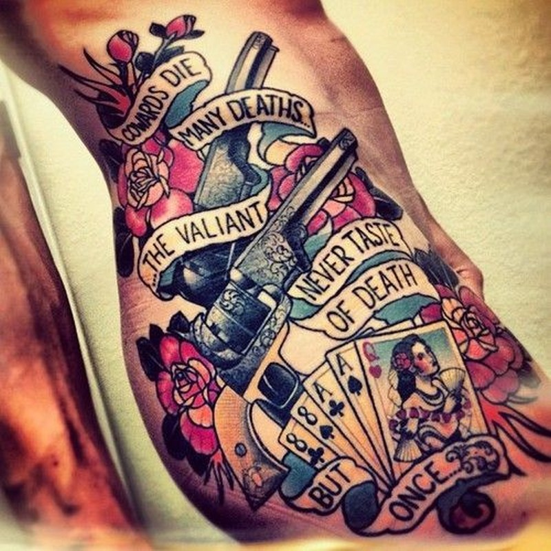 Old School Gun And Playing Cards Tattoo On Ribs Tattoos Book 65 000 Tattoos Designs