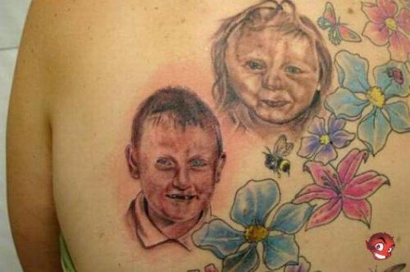 Outstanding baby portrait design tattoo
